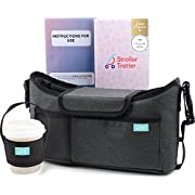 Best universal stroller organizer grey diaper bag + cup holder for cool parents (grey oxford, S)