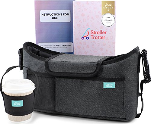 Best universal stroller organizer grey diaper bag + cup holder for cool parents (grey oxford, S) (Double Triple Strollers)