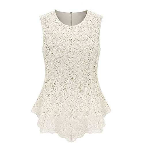 OFTEN Women's Sexy Chic Lace Shirt Fashion Sleeveless Blouse Tops,White,4X-Large by OFTEN