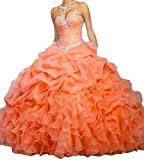 BanZhang Women's Quinceanera Dresses Prom Dress Beaded Cheap Ball Gown Jacket B314 Coral 24 Plus