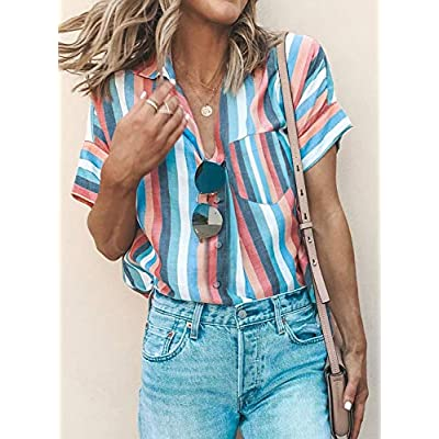 HOTAPEI Womens Casual V Neck Striped Cuffed Sleeve Button Down Collar Blouses Shirts: Clothing