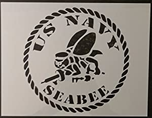 "OutletBestSelling Reusable Sturdy USA US USN Navy Seabee Seabees 11"" x 8.5"" Custom Stencil by OutletBestSelling"