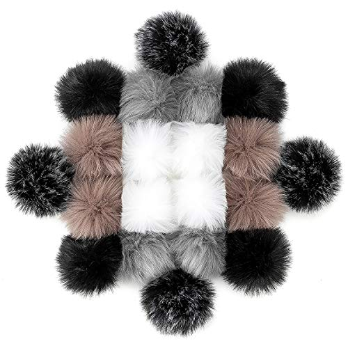 20 PCS Faux Fur Pom Poms Fluffy Pompom Ball for Knitted Hats Shoes Scarves Keychains Bags Charms DIY Projects