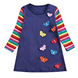 Toddler Infant Baby Girls Butterfly Rainbow Long Sleeve Little Kid Dresses Casual Clothes T-Shirt (5-6Years, Dark Blue)