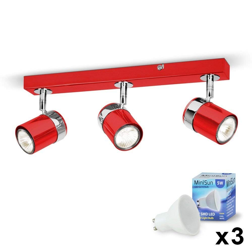 Modern 3 Way Cement/Stone Effect and Silver Chrome Straight Bar Ceiling Spotlight - Complete with MiniSun 5w LED GU10 Bulbs [6500K Cool White]