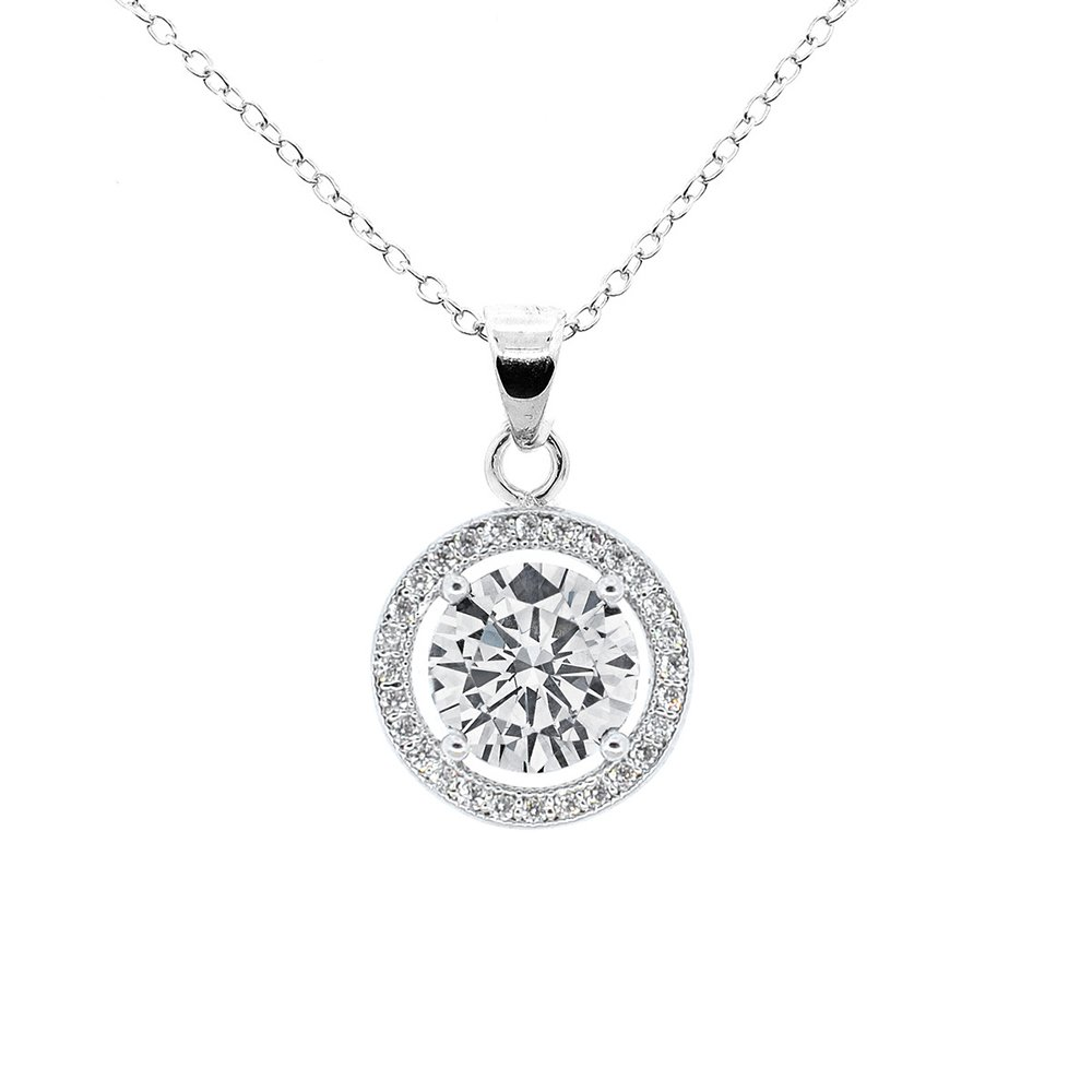 Cate & Chloe Blake True 18k White Gold Halo Pendant Necklace, Silver CZ Solitaire Necklace, Cubic Zirconia Pendant with Halo for Women - MSRP $99