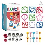 NEW Premium/Sturdy 29 Pc BPA Free Sandwich Cutter Set for Kids - Fun Bento Box Lunch Set For Boys, Girls & Toddlers - 8 Stainless Steel Fruit/Vegetable & Cookie Cutters - FREE 10 Food/Fruit Picks