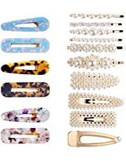 Hair Clips, TERSELY 16 PCS Women Girls Pearl Hair Clip Hairpin Slide Grips Barrettes Charm Fashion crystal Large Hair Bows/Clips/Ties/Pin For Wedding Birthday Hair Clips