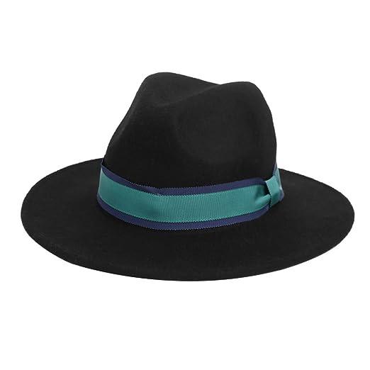 65c032bd302 Amazon.com  VEC 100% Wool Fedora Hat Vintage Bowler Hats Wide Brim ...