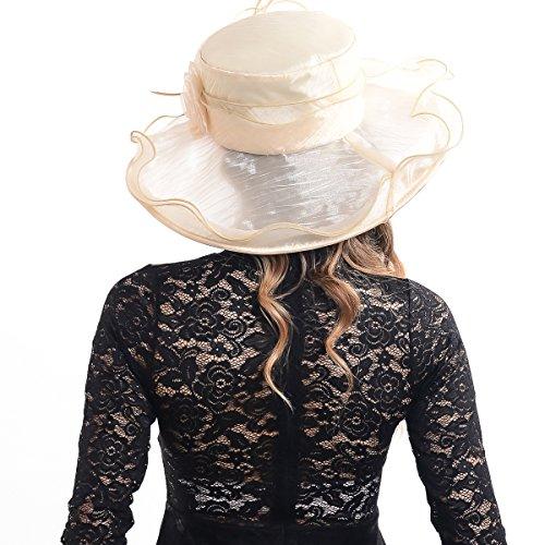 Women Corrugated Church Wide Brim Dress Hat with Rose Accent (Beige)