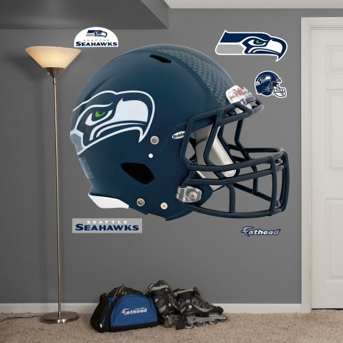 Fathead NFL Seattle Seahawks Seattle Seahawks: Helmet - Giant Officially Licensed NFL Removable Wall Decal