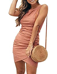 Women Ruched Casual Bodycon Dress Stretch Short Sleeve Mini Sheath Dresses
