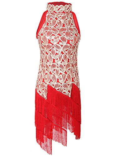 [JustinCostume 1920s Sequined Retro Pattern Flapper Dress Halloween Costume Red S] (S Costume Ideas For Women)