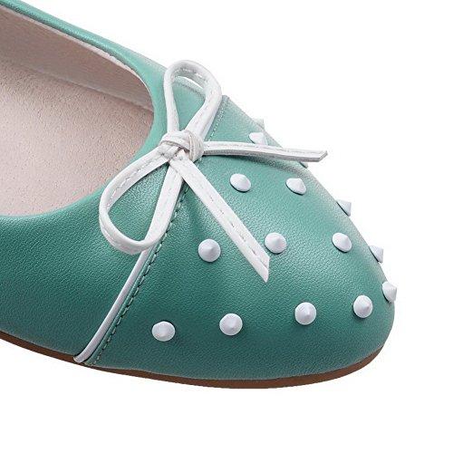 VogueZone009 Damen Ziehen auf Mikrofaser Rund Zehe Niedriger Absatz Eingelegt Pumps Schuhe Hellblau
