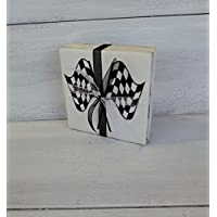 Drink Coaster, Racing Decor, Coasters, Sports Gift, Checkered Flags Coasters, Gift for Race Fan, Coasters, Set of 4, Nascar Gift, Racing Gift