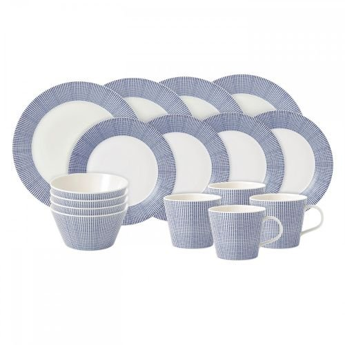 (Royal Doulton Pacific Dots 16 Piece Dinner Set, White)