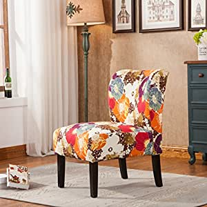 Amazon.com: Roundhill Furniture Capa Print Fabric Armless ...