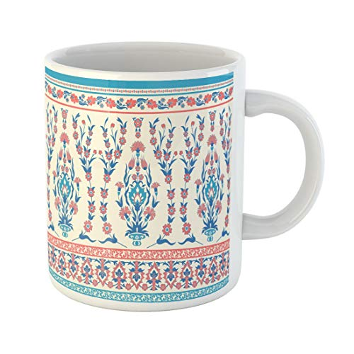 (Tarolo 11 Oz Mug Coffee Mug Ceramic Tea Cup Blue Border Traditional Floral Pink Indian Palace Turkish Bouquet Carnation Large C-handle Family and Office Gift )