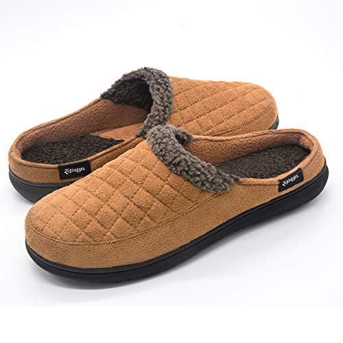 Zigzagger Mens Suede Fabric Memory Foam Slippers Fleece Lined Slip On Clog House Shoes Indoor/Outdoor,Light Tan,11-12 D(M) US