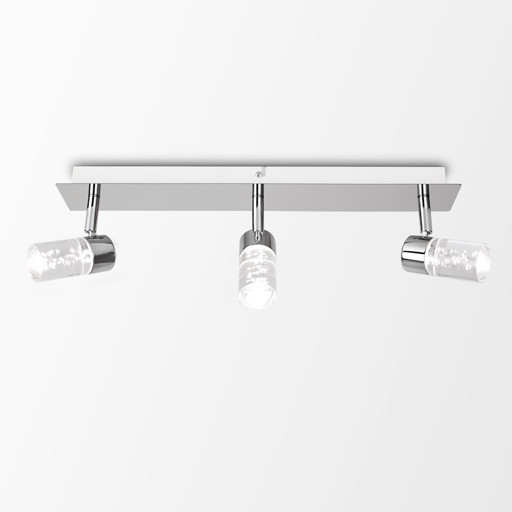 Modern 3 Way Straight Bar Silver Polished Chrome Bathroom Ceiling Brushed Satin Light Pull Cord Switch Amazoncouk Lighting With Bubble Effect Glass Cylinder Shades Ip44 Rated