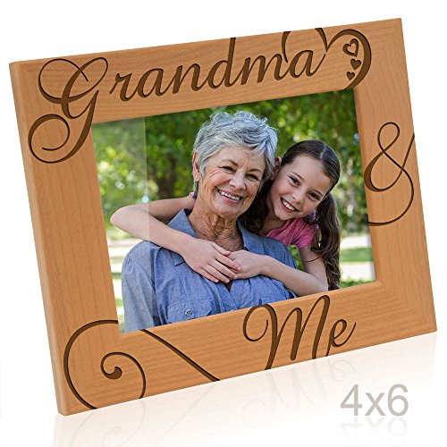 Kate Posh - Grandma & Me Natural Wood Picture Frame - I love You Grandma Gift, Grandma Gifts, Grandparent's Day Gifts, Best Grandma Ever Gifts, Grandmother Gifts, Christmas Gifts (4x6-Horizontal)