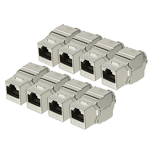 (uxcell RJ 45 Keystone Jack Module Cat.5E FTP 500 Mhz 10GB No Tools Needed Shielded - 8 Pack Silver)