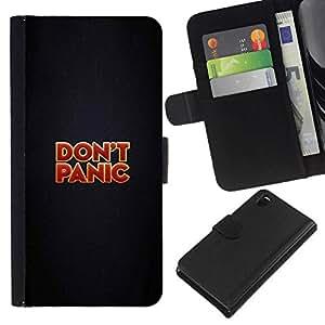 NEECELL GIFT forCITY // Billetera de cuero Caso Cubierta de protección Carcasa / Leather Wallet Case for Sony Xperia Z3 D6603 // NO PÁNICO MENSAJE DIVERTIDO