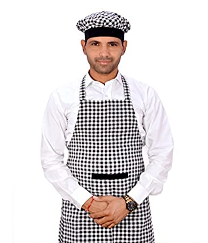 Switchon Cotton Check Kitchen Apron with Cap, 22-inch (Black and White)