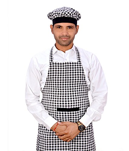 Switchon Cotton Check Kitchen Apron with Cap, 22-inch (Black and White) Price & Reviews