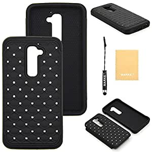 E-Time (TM) LG Optimus G2 D802 Heavy Duty Tuff Shield Hybrid Hard Case Silicone Skin Cover (Free E-Time Brand LCD Screen Protector + Stylus Pen Included) (DD) (black)