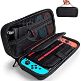 Nintendo Switch Case - Fit Original Charger AC Adapter - Hestia Goods with 20 Game Cartridges Hard Shell Travel Switch Pouch for Nintendo Switch Console & Accessories, Black