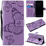 Samsung Galaxy S9 Case, Lomogo Leather Wallet Case with Kickstand Card Holder Shockproof Flip Case Cover for Samsung Galaxy S9 - LOKTU21670 Purple