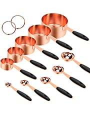 Global-store Measuring Spoons and Cups, 10 Piece Stainless Steel Measuring Cups and Spoons Set with Engraved Marking Ruler for Measuring Dry and Liquid Ingredients Baking Cooking, Mixing, Food Process