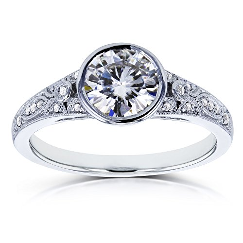Diamond Antique Engagement Ring Setting (Round Moissanite and Diamond Bezel Vintage Engagement Ring 1 CTW in 14k White Gold)