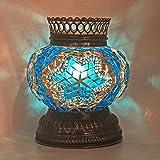 Woodymood Mosaic T light/Candle Holder, Turkish Moroccan Mosaic Glass lamp 4'' 1 Ball (Blue)