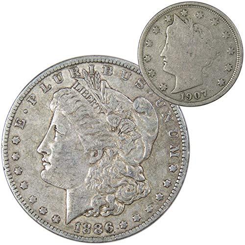 1886-O Morgan Silver Dollar VF Very Fine with 1907 Liberty Head 5c Good Coin Lot