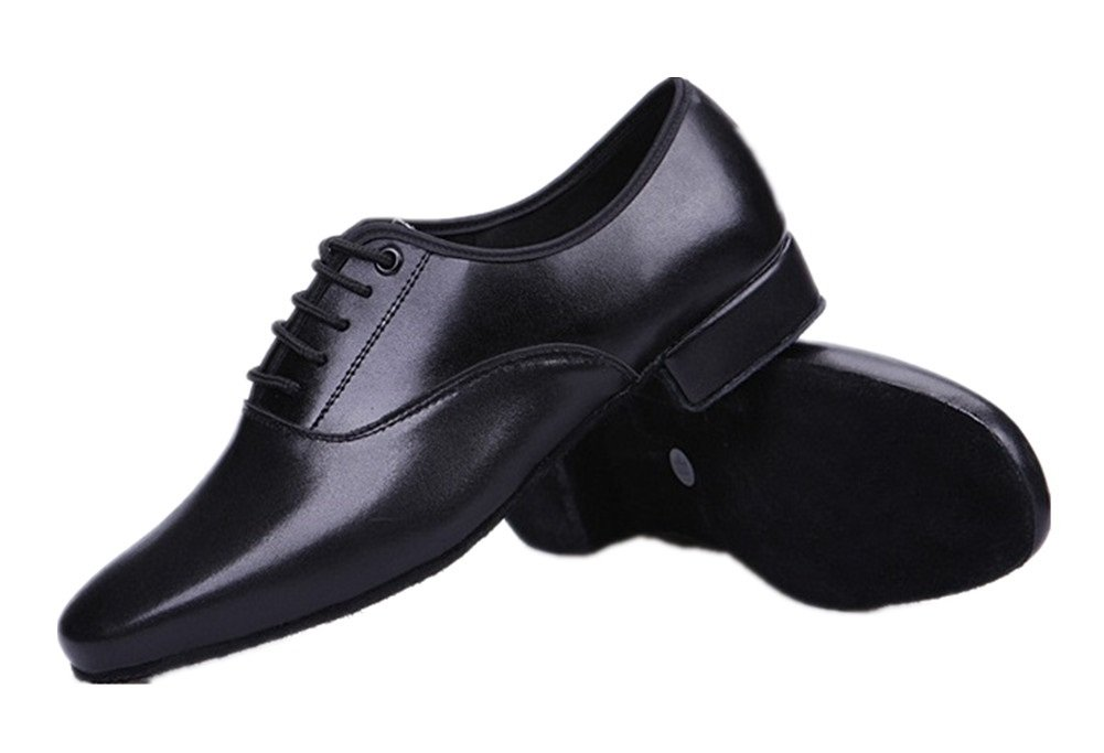 Gogodance Men's Boys Professional Lace-up Black Leather Latin Salsa Tango Ballroom Modern Dance Shoes (9.5US/44) by Gogodance