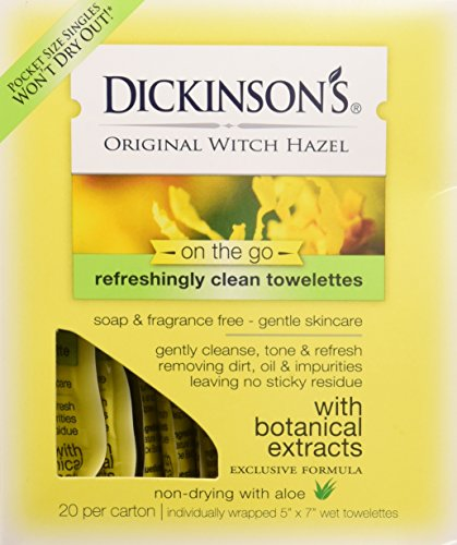 Oil Towelettes - Dickinsons Original Witch Hazel Oil Controlling Towelettes - 20 Ea, 3 Pack