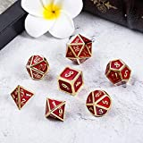 Ruby Red Metal Dice for DND, Heavy Full Set of
