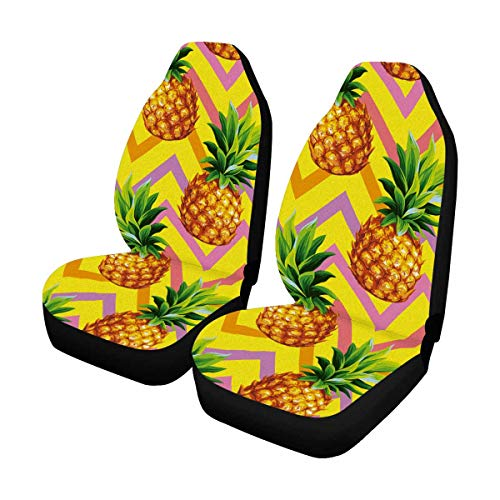 (InterestPrint Custom Colorful Pineapple Chevron Car Seat Covers for Front of 2,Vehicle Seat Protector Car Mat Fit Most Car,Truck,SUV,Van)