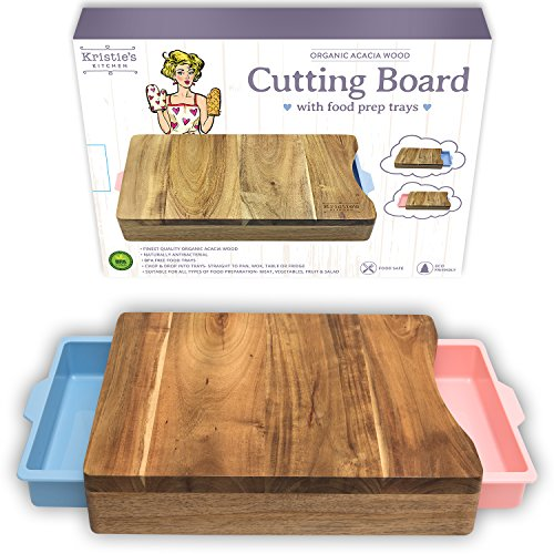 Cutting Board With Trays Organic Acacia Wood Butcher