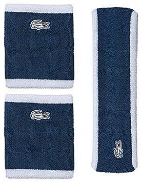 81b3dc8b87 Lacoste Logo Pro Bandeau et Bracelets de Tennis Set, Bleu: Amazon.fr ...