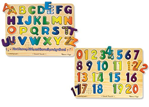 Alphabet Sound Puzzle - Melissa and Doug Puzzle 2-Pack - Numbers Sound Puzzle with Alphabet Sound Puzzle - Ages 3 and Up - Educational Fun