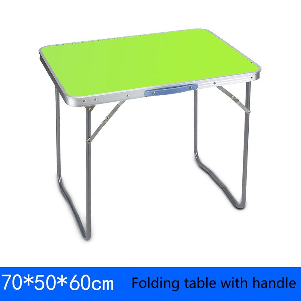JU FU Piccolo Tavolo Pieghevole Quadrato - e Sedia con Manico da Campeggio Pieghevole da Tavolo in Legno da scrivania - postazione Computer   (colore   A, Dimensioni   70  50  60cm)