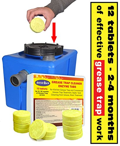 Beseder Enzyme tabs Grease Trap Cleaner 12 pcs for Grease Trap Cleaning and Septic Tank Cleaning, Clearing Grease from drains. Breaks Down All Oils and Grease. for Home Kitchen Commercial Restaurants by Beseder (Image #1)
