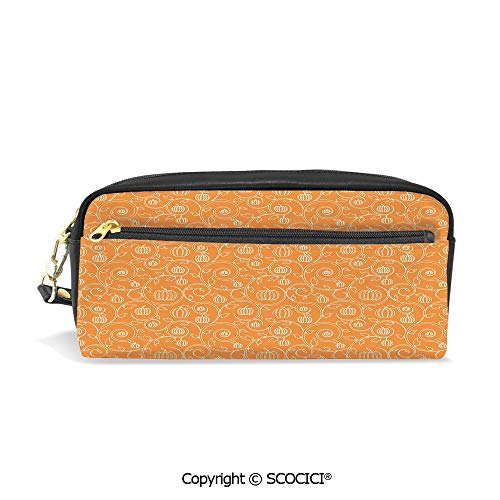 Fasion Pencil Case Big Capacity Pencil Bag Makeup Pen Pouch Pattern with Pumpkin Leaves and Swirls on Orange Backdrop Halloween Inspired Durable Students Stationery Pen Holder for School]()