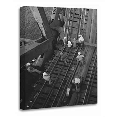 TORASS Canvas Wall Art Print Railway Industrial Railroad Bridge Workers Photos Artwork for Home Decor 12