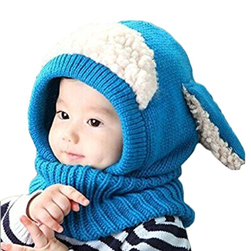 [Tusong Unisex Baby toddle Cute Puppy Dog Ears Winter knitted Hats Hooded scarf (Blue)] (Puppy Dog Baby Costume)