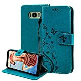 For Samsung Galaxy S8 Case Wallet ,Areall[Butterfly Flower Vine Design] Premium Flip Folio Leather Back Cover with Kickstand Card Slots ID Holder Magnetic Closure Snap - Blue