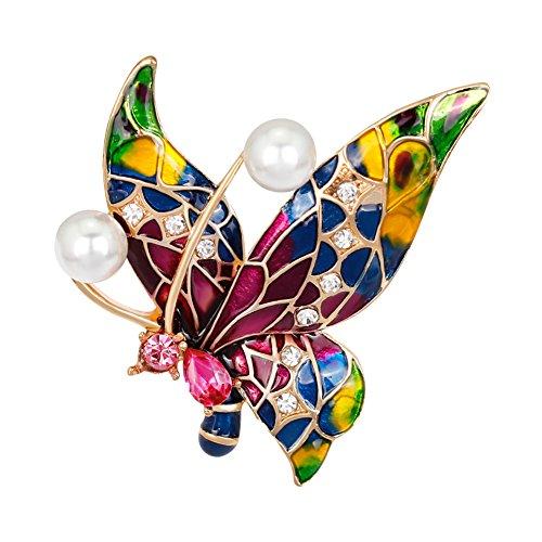 Enamel Rhinestone Butterfly Pin - Fashion Multicolor Rhinestone Butterfly Brooch Pin Big Faux Pearl Enamel Brooch Pin Wedding Bridal Gift (Multicolor 24)